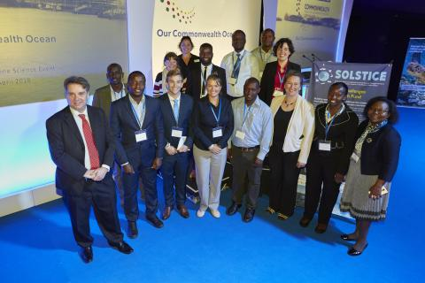 SOLSTICE Early Career Scientists from Kenya, Tanzania and South Africa presenting their research at the Commonwealth Marine Showcase to Commonwealth Heads of State and High Commisioners - 9 April 2018, Southampton UK
