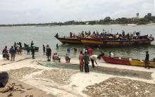 Fishing boat returns to Msasani Beach landing site